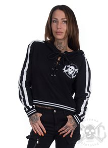 eXc Short Lace Up Logo Hoodie, Black