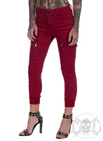 eXc Red Zipped Cargo Pants