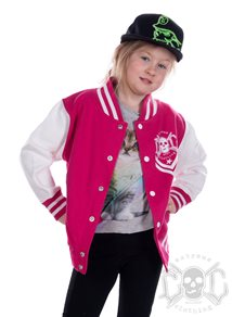 eXc New Skull Kids Varsity Jacket, Pink/White